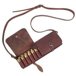 J6 Bolso/estuche para cartuchos, de piel auténtica, de color marrón