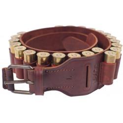 J7 Cartuchera, de piel auténtica, calibre 12, marrón, teille L