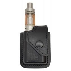 i1 Bolsa de Cintura Viaje portátil para Caja de Cigarrillos electrónica vaporizador, Cuero Genuino, Negro
