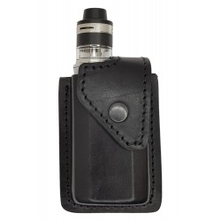 i2 Bolsa de Cintura Viaje portátil para Caja de Cigarrillos electrónica vaporizador, Cuero Genuino, Negro