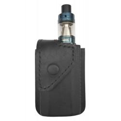 i5 Bolsa de Cintura Viaje portátil para Caja de Cigarrillos electrónica vaporizador, Cuero Genuino, Negro