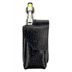 i3k Bolsa de Cintura Viaje portátil para Caja de Cigarrillos electrónica vaporizador, Cuero Genuino, Negro